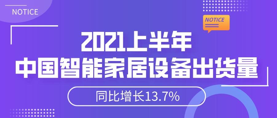 2021上半年中国智能家居设备出货量同比增长13.7%!
